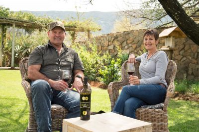 African Hunting - Rob & Laur enjoying a glass of wine at Royal Karoo